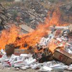 حجم قابل توجهی سیگار و تنباکوی قاچاق در مشهد نابود شد